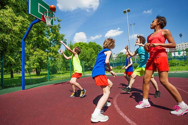 Enjoy a pickup game on one of our basketball courts.