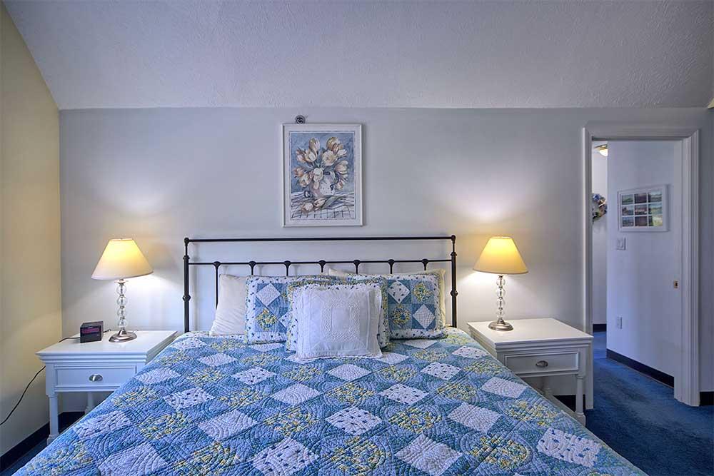 Bedroom with Blue bedspread