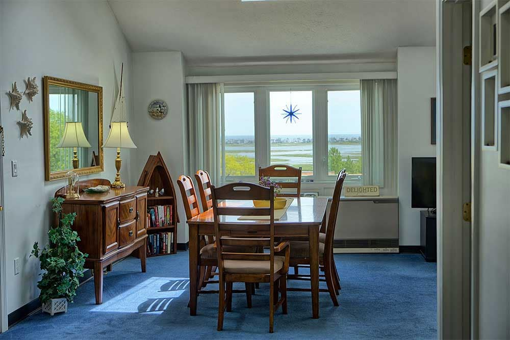 Dining room overlooking marsh