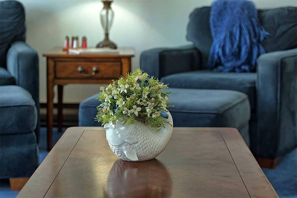 flowers on wood coffee table