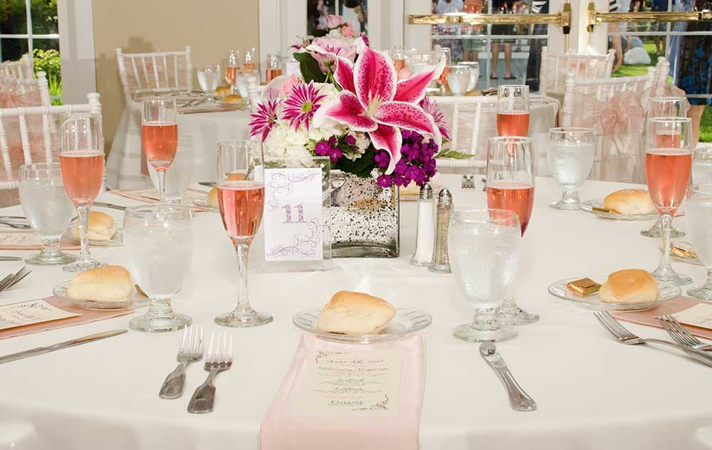 Bright color wedding table setting