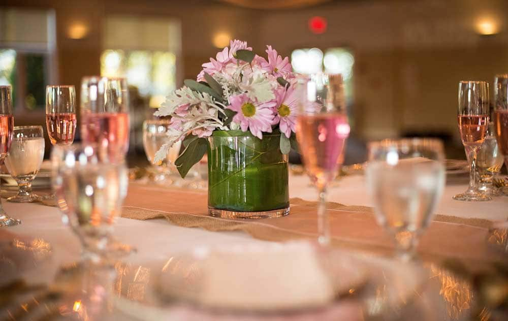 Flowers and Champagne on table