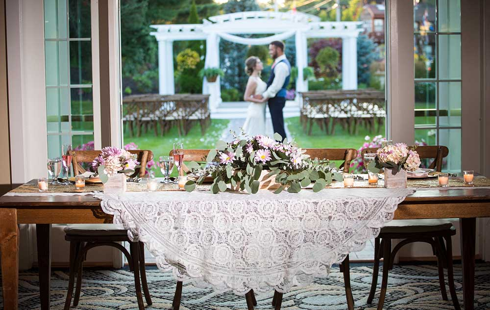 Head table for Bride and Groom at Wells Maine Wedding