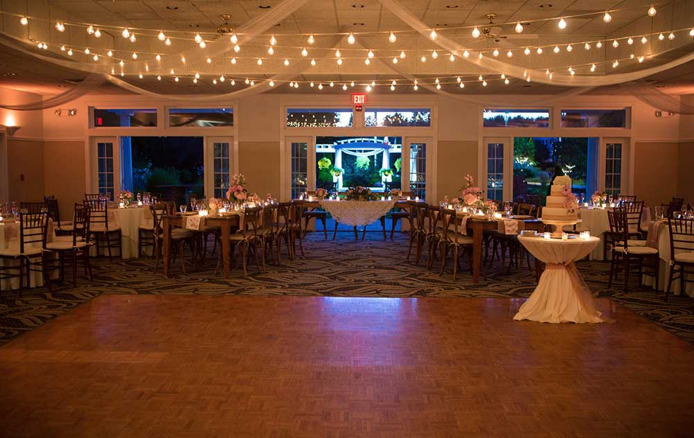Dance floor and wedding tables