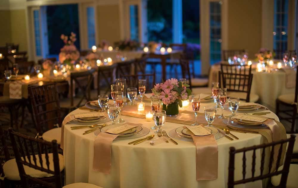 Round wedding tables with candles