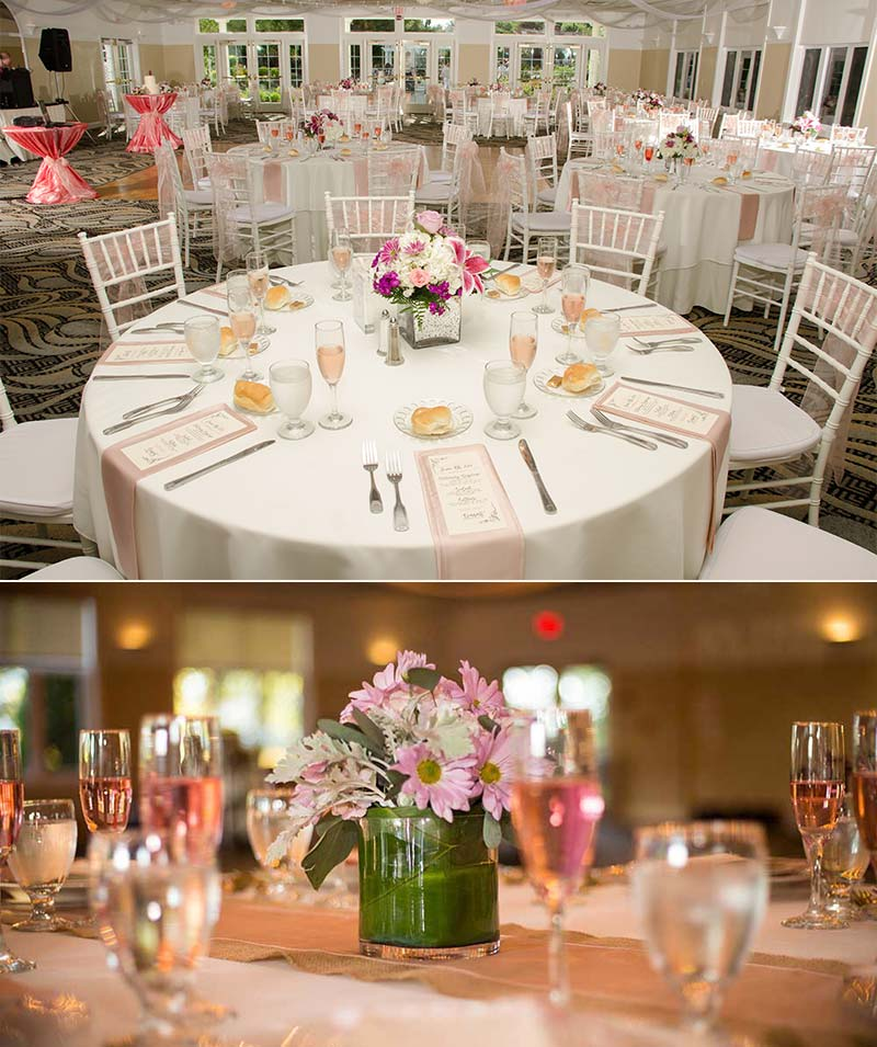 Wedding table settings at wells maine wedding venue Village by the Sea