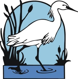 Village by the Sea logo, snowy egret